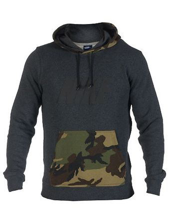 NIKE Camouflage pullover hoodie Long sleeves Stretch material for ultimate comfort Soft inner fleece... Stretch fit. 78% cotton, 22% polyester. Grey 545185032.