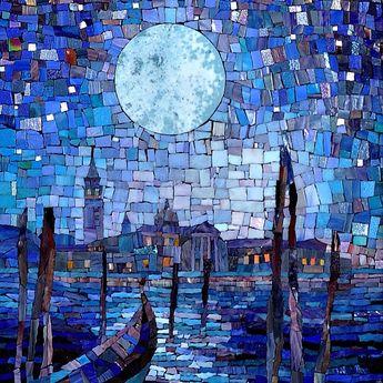 """Картина """"Венеция. Полнолуние."""" #mosaic #mosaicdesignstudio #artmonument #venice #fullmoon #picture #art #полнолуние #искусство #картина"""