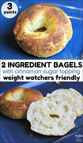 If you are following the Weight Watchers Freestyle program, you'll love these 2 Ingredient Bagels with Cinnamon Sugar Topping. They are only 3 points each and so good!