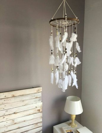 White Dream catcher mobile White Feather Mobile Boho dreamcatcher Baby mobile Nursery Decor for baby