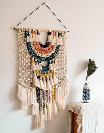 "Macrame Wall Art / Wall Tapestry / Woven Hanging / Tapestry /Home Decor / Wall Art / Ranran Design ""Candy"""