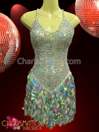 be18f5d474 CHARISMATICO Iridescent Silver Glitter Showgirl'S Dress With Laser-Cutout  Diamond Sequin Fringe