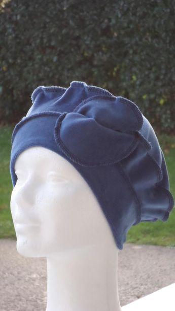 Bonnet chapeau béret turban  pour femme  bleu en velours  confortable  unique  nouvelle b029caadb3c