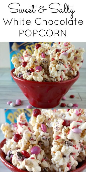 Sweet and Salty White Chocolate Popcorn. A fun Valentine's day treat.