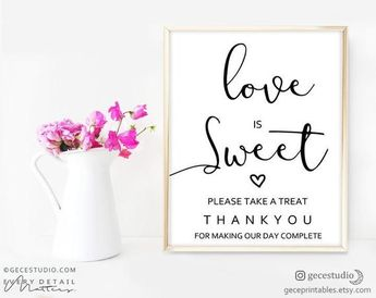 Love is Sweet Take a Treat Sign — Printable Wedding Favor Sign, Dessert Table Sign, candy bar sign,