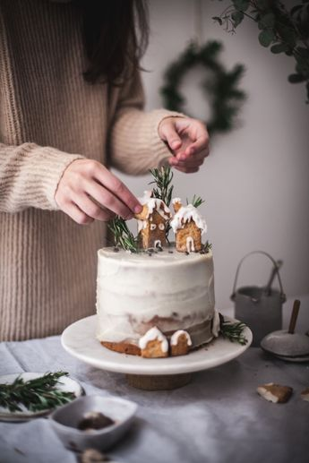Christmas Cake with Chocolate & White Sweet Potato frosting