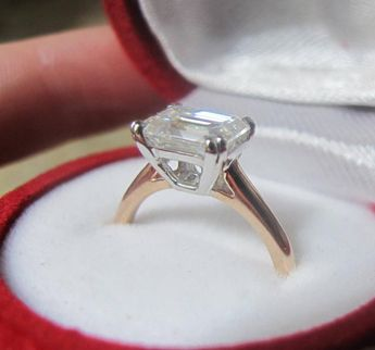 9efe8174a4f4d1 East West Moissanite Engagement Ring, East West Emerald Cut Ring,  Horizontal Solitaire Ring,