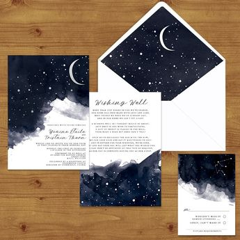 STARRY NIGHT Celestial Wedding Invitations #weddinginvitation