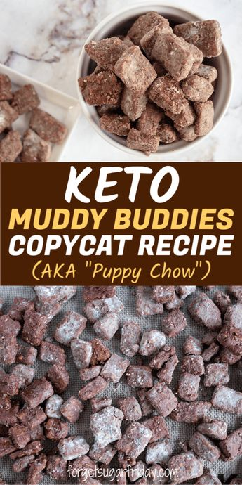 "Looking for the BEST keto dessert recipe? You're going to love this one!! It's a keto copycat recipe of the famous Muddy Buddies (or Puppy Chow) recipe, a childhood favorite for many of us. This delicious keto dessert and keto snack contains chocolate, peanut butter, butter, keto cereal, and powdered ""sugar."" It tastes SO GOOD and contains only 3g net carbs per serving. This easy keto recipe will become a new household favorite! It's also a keto fat bomb recipe! #keto #ketorecipes"