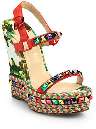 Christian Louboutin Cataclou Suede & Leather Platform Espadrilles on shopstyle.com..these are calling my name!!