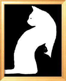 Grand chat blanc-petit chat noir