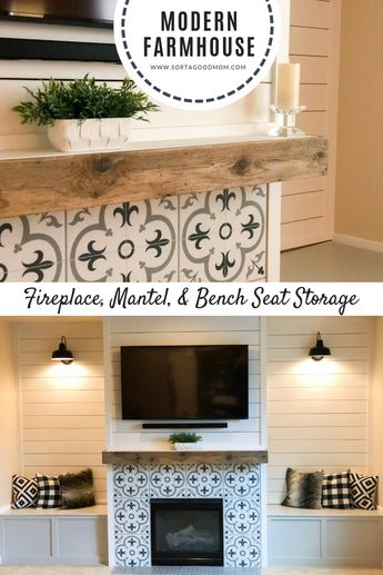 Shiplap walls, a wood mantel, patterned tiles around the fireplace & galvanized lights are focal points that give this family room a modern rustic farmhouse look. Inside the multifunctional benches is added storage. Outside, the bench seats offer more seating & a cozy reading nook. You have to see the before & after pictures of this amazing transformation. #modernfarmhousefireplace #farmhouselivingroom