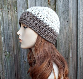 12b2932a169120 Wheat and Taupe Beanie - Taupe Crochet Hat Taupe Womens Hat Taupe Mens Hat  - Taupe