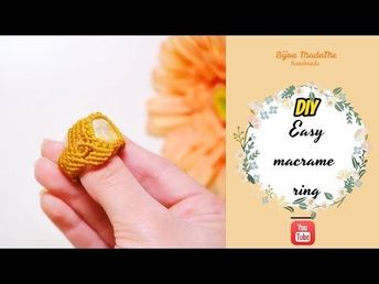 DIY easy macrame ring | How to make a ring with gemstone | DIY macrame jewelry - YouTube