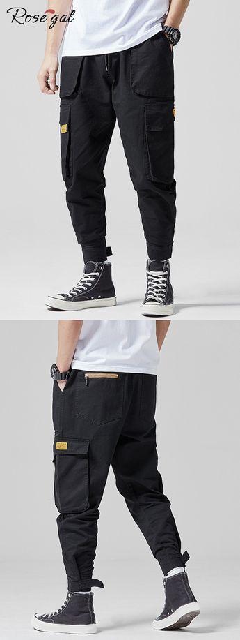 Applique Muli-pocket Drawstring Cargo Pants #Rosegal #menfashion #pants
