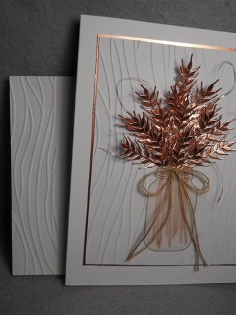 Fall wheat, wheat bouquet in mason jar, coppery rose gold wheat bouquet, harvest wheat in bouquet, dimensional, embossed, blank inside