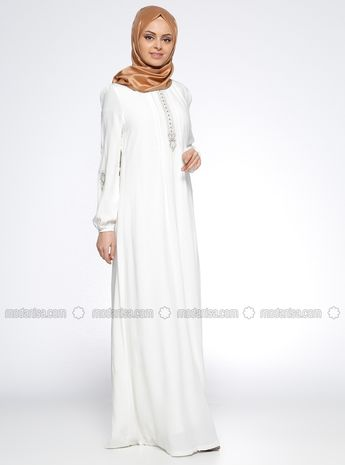 fbebc815dc Fully Lined - Crew neck - Ecru - White - Viscose - Dress - Ginezza