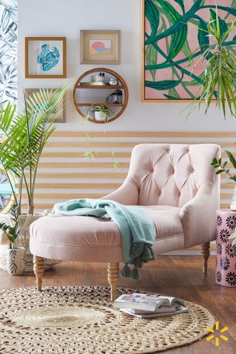 Round out your space with eclectic decor and a rolled-back chaise from Drew Barrymore's new collection. Throw in natural textures and accessories for a look that's cozy and chic.