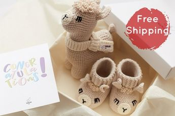2f7f9981007e1 Newborn boy girl gender neutral pregnancy congrats new parents reveal gift  box with crochet llama to