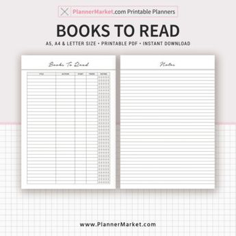 Books To Read, 2019 Planner, Notes, A5, A4, Letter Size, Planner Refill, Planner Binder, Filofax A5, Instant Download