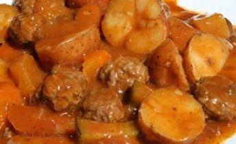 Recette: Ragoût de boeuf haché et aux légumes.