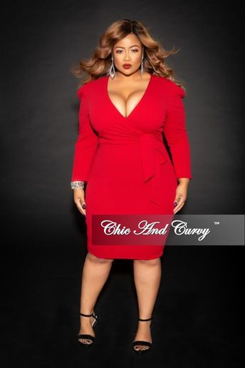 c511a5fcd26a Final Sale Plus Size Faux Wrap Dress with Attached Tie in Burgundy
