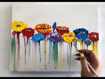 How to draw easy flowers painting / Demonstration /Acrylic Technique on canvas by Julia Kotenko - YouTube