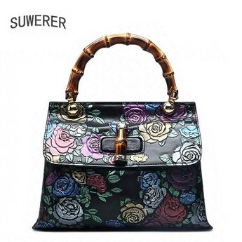 b733814392fa SUWERER Genuine Leather women bags for women 2018 new fashion rose embossed  Retro luxury handbags women