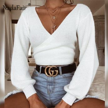 Nadafair sexy off shoulder white casual sweater women autumn winter long sleeve knitted crop tops back bow slim solid sweater
