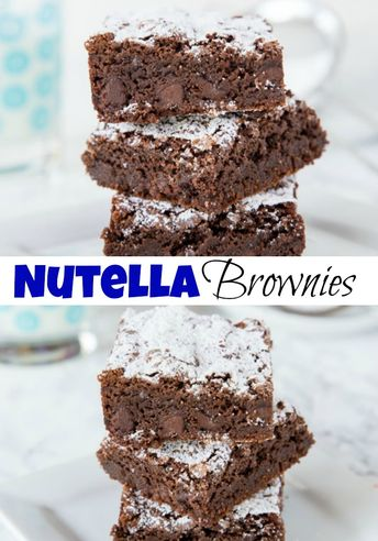 Nutella Brownies – an absolute chocolate lover's dream! Homemade brownies filled with 3 kinds of chocolate for an absolutely delicious treat!