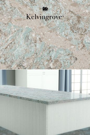 Looking for a coastal kitchen renovation? Warm and nurturing Earth tones of taupe, white, and robin's egg blue-green blend organically in striking variation and glistening streams in our Kelvingrove design. Click to see more of this distinct Cambria quartz countertop design. #MyCambria #CoastalStyle #quartzcountertops