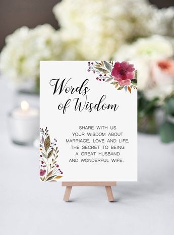 Words Of Wisdom - Printable Wedding Advice Sign - Floral Guest Book Idea - Burgundy