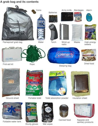 "Japanese citizens are advised by the government to always have an emergency survival ""grab bag"" at the ready. What do people put in them? #survivalbag #survivalbags"
