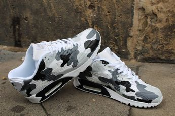 "Custom Painted leather Nike Air Max 90 ""Camouflage Black & Grey"" unique Sneaker Art Style"