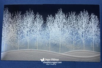 I did two techniques on this shadow box card, sponging and embossing. I love this Christmas card. I used the Winter Woods and Timeless Tidings stamp sets from Stampin' Up!