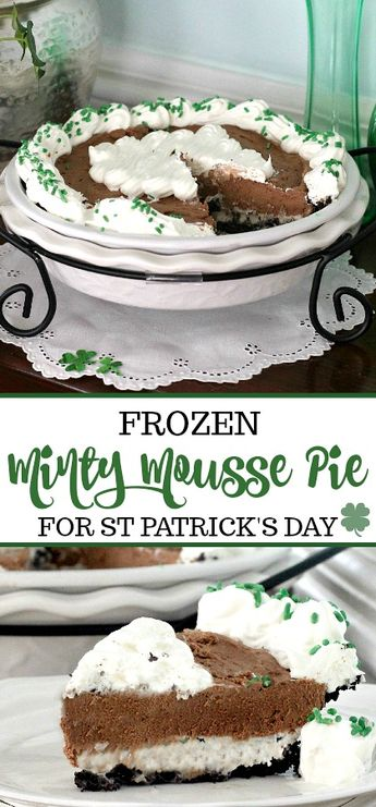 St. Patrick's Day Frozen Minty Mousse Pie & Giveaway
