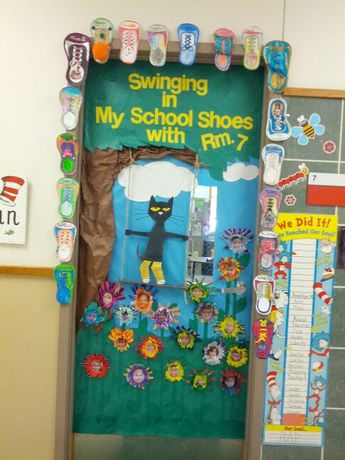 Pete the cat door for April I did....swinging in my school shoes!