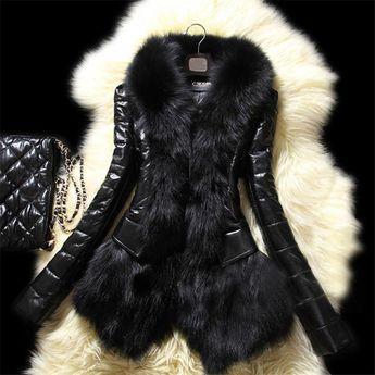 Black Faux Fur Women Coat
