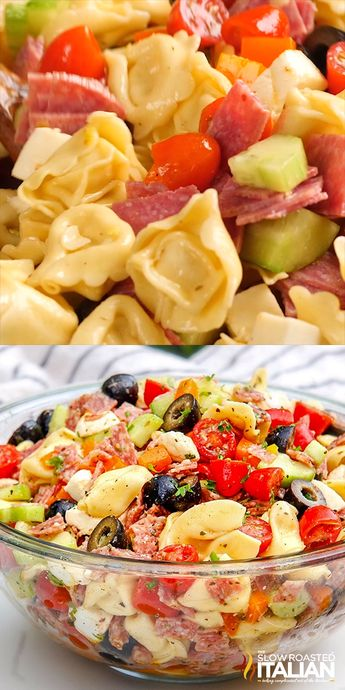 Tuscan Tortellini Pasta Salad recipe is bursting with your favorite Italian fixings and on your table in 25 minutes!  You can make the salad ahead of time for the perfect stress free potluck side that everyone will love! #pastasalad #tuscan #tortellinirecipe