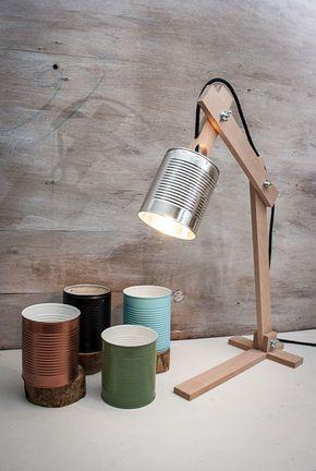 Ähnliche Artikel wie Silberne Schreibtischlampe, Silberner Lampenschirm, Originallampe, Recyclingdose, Schreibtischlampen, Holztischlampe, Holzlampe,Holzgeschenk auf Etsy