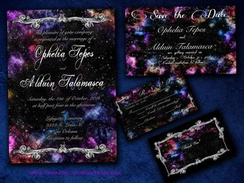 Embellished Galaxy Nebula Space Themed Wedding Invitation, Save the Date, RSVP, and Thank You Digital File Kit Printable