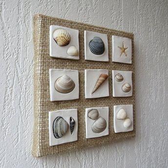 Wall hanging decoration - Coastal decor - Beach style decoration - Shells art - Seashells collage - Clay sculpture - Sea stars decor