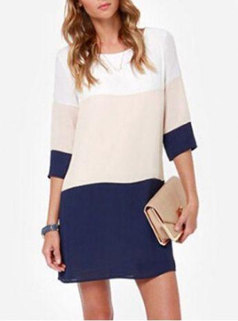 Casual Scoop Neck Color Block 3/4 Sleeve Dress For Women