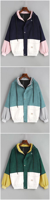 Hooded Color Block Corduroy Jacket BLUE GREEN CHERRY RED DEEP GREEN GREEN PURPLISH BLUE YELLOW