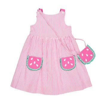 52f38232a Girls Seersucker Sundress with Watermelon Pockets and Watermelon Purse - 6y