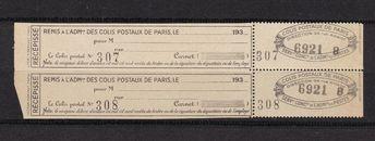 Timbres Neufs Vignettes Stamp Colis Postaux de Paris Récépissé Poste