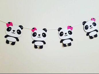 a7bc7e402f317 Panda bear garland. Panda banner. Black and white banner. Black and white  garland
