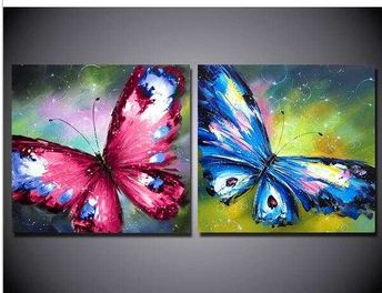 High Quality/FreeShipping/Hand-painted 2pcs Group Color Butterflies Oil Painting on Canvas Art home decoration AF890A
