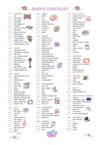 Printable Baby Checklist | ... know i can send you this checklist plus my outing vacation checklist d #babyregistry #baby #registry