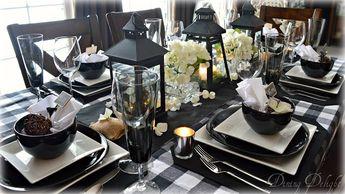 Black Lanterns & Buffalo Check Tablescape